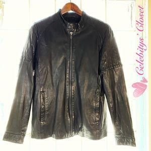 NEW RVLT SHEEPSKIN Leather Black Motor Jacket M